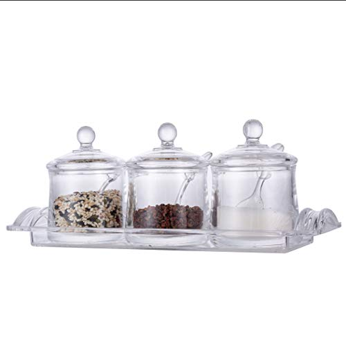 Xena 3 Piece Clear Round Spice Rack Spice Pot Acrylic Seasoning Box Storage Container Condiment Jar, 12.5 x 4 Inch Cruet Cover Spoon Salt Pepper Organizer Sauces Dressing Holder
