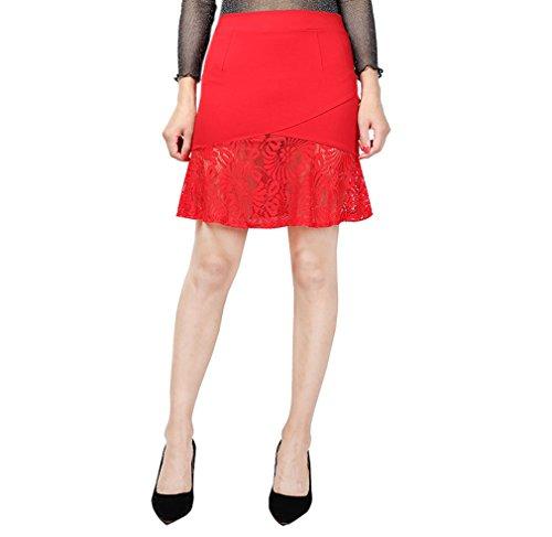 Dresse Acvip Rouge Femme Crayon Fashion Moulante Jupe Dentelle De En Eté Élastique qxfwAHxZ