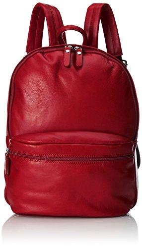 CTM Mochila unisex de piel. Piel Verdadera. 100 % Fabricado en Italia Rojo (Rosso)