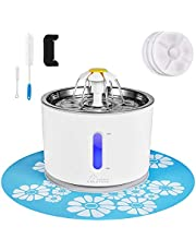 Cat Water Fountain Stainless Steel, 81oz/2.4L Intelligent Auto Power Off Pump, Pet Fountain, Cat Water Dispenser with 3 Carbon Filters, 1 Mat and 2 Cleaning Brushes, Water Level Window with LED Light