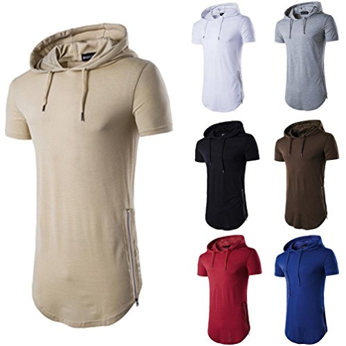 vermers Clearance Deals Fashion Tops for Men - Hipster Hip Hop Hoodie Side Zipper T Shirts(2XL, Red) ()