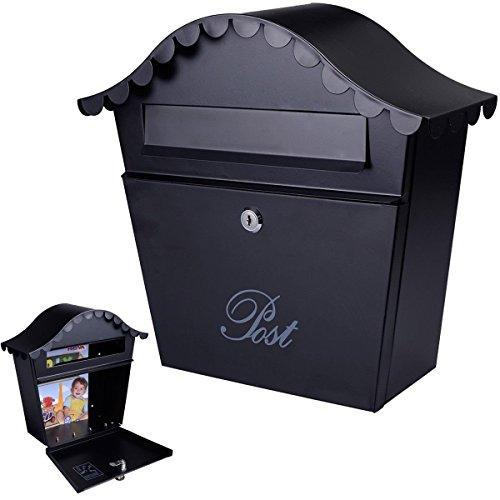 - Wall Mount Black Mail Box w/ Retrieval Door & 2 Keys Steel MailBox New