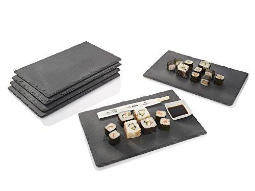 Schiefer Platten Set 6 teilig 20x30cm Tisch Untersetzer Servierplatten   4 Gummifüße zum Schutz Ihrer Oberflächen   Robustes Design mit edler Optik
