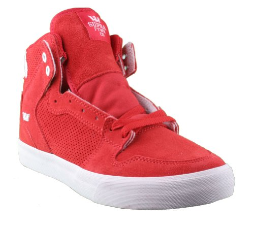 (Supra Vaider High Top Skate Shoe - Men's Red Perf Suede/White)