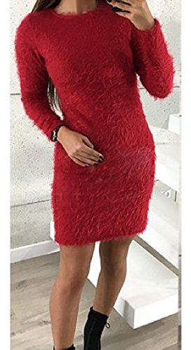 Coolred-femmes Manches Longues Pull En Cachemire Ras Du Cou Silm S'adapter Rouge Confortable Robe