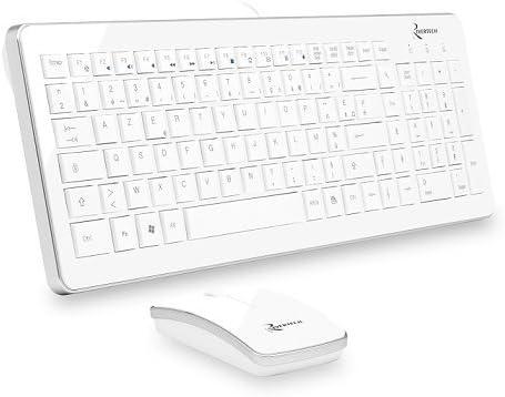 Rivertech Pack Classic - Teclado y ratón con cable, color blanco blanco: Amazon.es: Informática