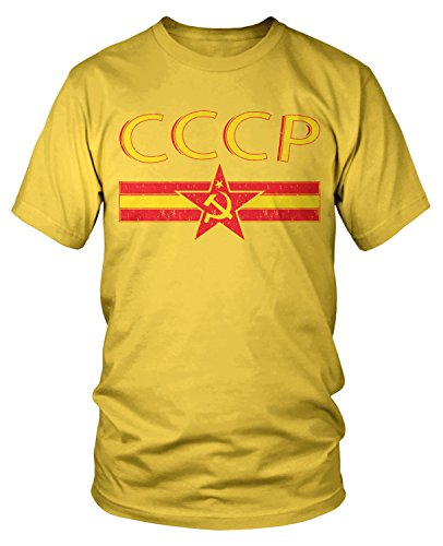 (Amdesco Men's CCCP Flag and Crest, Star Hammer and Sickle T-Shirt, Yellow Large)