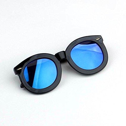 Sunyan Kinder Sonnenbrille, UV-Licht, runden Rahmen baby Tinte Gläser Persönlichkeit Jungen und Mädchen tide große Rahmen Sonnenschirm, die Black Box der Blue Chip