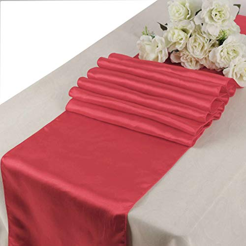mds Pack of 5 Wedding 12 x 108 inch Satin Table Runner for Wedding Banquet Decoration- Coral ()