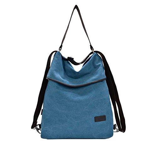 Siehin Vintage Canvas Mujer Bolso de hombro Retro Mochila Daypack bolsa multifuncional para el trabajo, la escuela y Casual Daily Azul