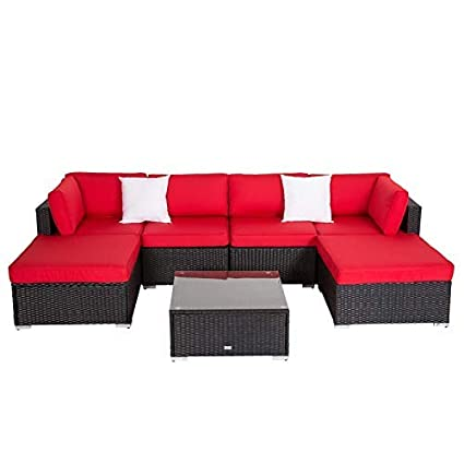 Terrific Peach Tree 7Pcs Outdoor Patio Furniture Sectionals Wicker Rattan Sofa Set With 2 Ottomans Red Uwap Interior Chair Design Uwaporg