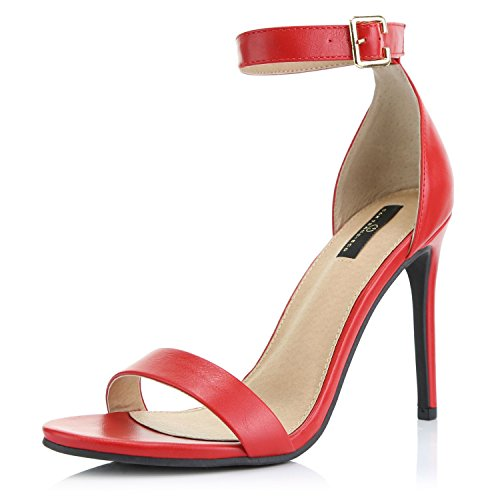- DailyShoes Women's Open Toe Ankle Buckle Strap Platform Casual Pump Heel Sandal Shoes, Red PU, 10 B(M) US