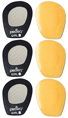 Pedag Get A Grip Girl Forefoot Pads, Black Leather, Pack of 3 - Sliding Halter