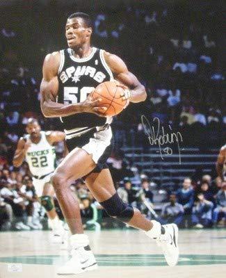 David Robinson Autographed Signed San Antonio Spurs 16x20 Photo black jersey- JSA Authentic