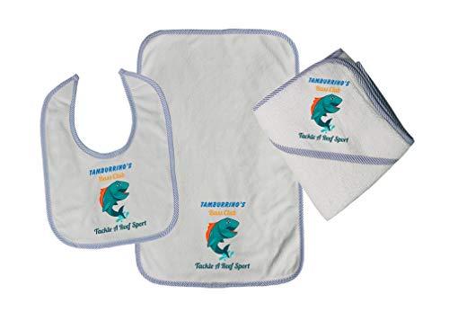 Personalized Custom Bass Club Cotton Boys-Girls Baby Bib-Burb-Towel Set - Blue, One -
