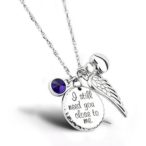 I Still Need You Close to Me Cremation Jewelry Urn Necklace Pet Memorial Ash Holder Necklace with Birthstone Crystal and Angel Wing Charm Sympathy Gift Memorial Necklace ()