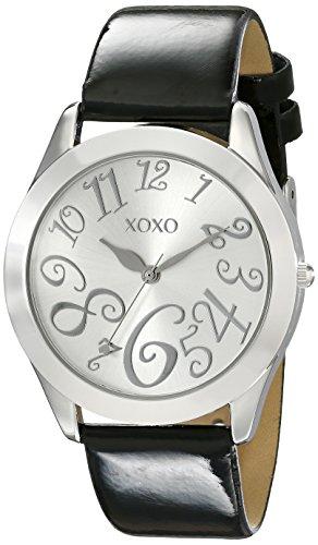 XOXO Women's XO3177 Silver Dial Black Patent Strap Watch Patent Watch Strap