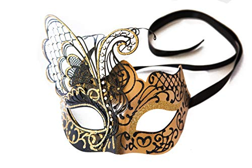 Beautiful Comfortable Gold and Black Butterfly Venetian Masquerade Mask for Women. Luxury Crystal Rhinestones, and Fancy Laser Cut Butterfly. for Costume, Ball, Mardi gras, or Cosplay. -