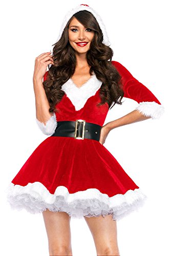 Party City Mrs Claus Costume (Women's Mrs. Claus Costumes Adult Deluxe Christmas Dress Hooded Set)