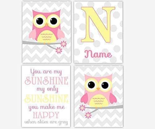 My Baby Girl S Nursery: Amazon.com: Baby Girl Nursery Art Pink Yellow Owl You Are