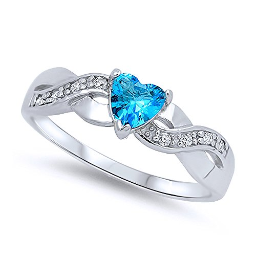 Sterling Silver Infinity Band Simulated Blue Topaz CZ Heart Promise Ring  5MM (Size 4 To 12), 8