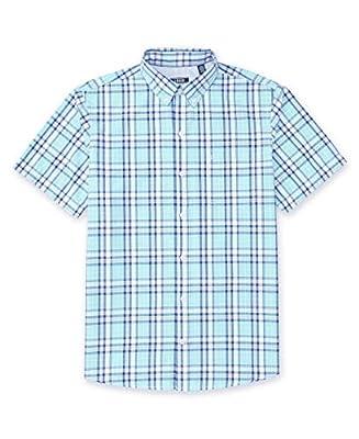 IZOD Men's Breeze Button Down Short Sleeve Plaid Shirt