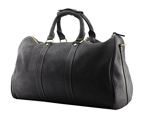 Jiao Miao Leather Travel Duffel Bag Overnight Weekend Luggage Carry On Airplane Underseat ,170901-02 by Jiao Miao