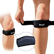IPOW 2 Pack Thickened Pad&Wide Patella Knee Strap,Pain Relief Patellar Tendon Support,Adjustable Brace Band for Hiking,Basketball,Running,Jumpers Knee,Volleyball,Tendonitis,Arthritis,Injury Recovery