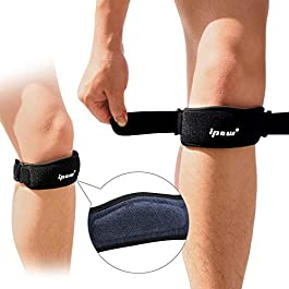 IPOW 2 Pack Thickened Pad & Wide Patella Knee Strap, Pain Relief Patellar Tendon Support, Adjustable Brace Band for Basketball, Running, Jumpers Knee, Volleyball, Tendonitis, Arthritis