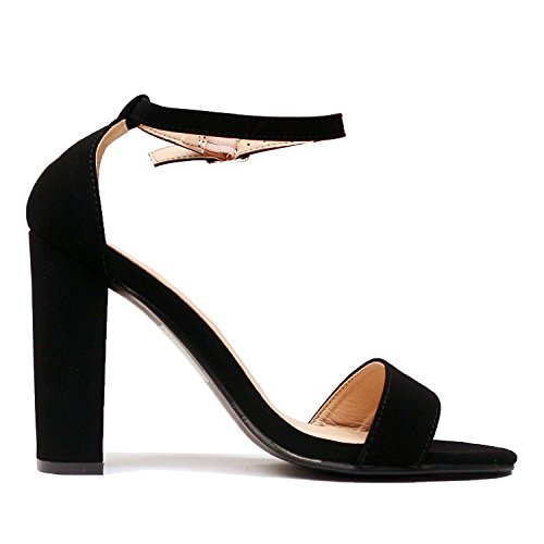 Ankle Chunky Guilty High Heart Party Toe Comfort Sandal Nubuck Open Black Dress Sexy Block Womens Strap Heel Formal WxwnXxzU0