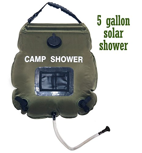 Solar Shower Bag Outdoor Ruipoo 5-Gallon Summer Shower Collapsible Solar Heating Premium Camping Shower Bag Hot Water with Temperature 45°C Includes Removable Hose w/On-Off Switchable Showerhead (Solar Outdoor Showers)