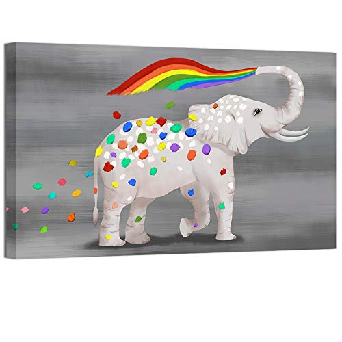 (Welmeco Funny Animals Canvas Prints Little Elephant Spray Colorful Rainbow Painting Wall Art Giclee Printing Ready to Hang Home Office Kids Nursery Bedroom Decoration (24