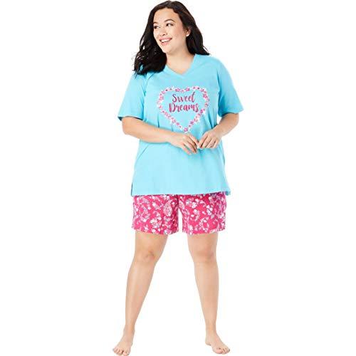 (Dreams & Co. Women's Plus Size V-Neck Shorty Pj Set - Raspberry Sorbet, 3X)
