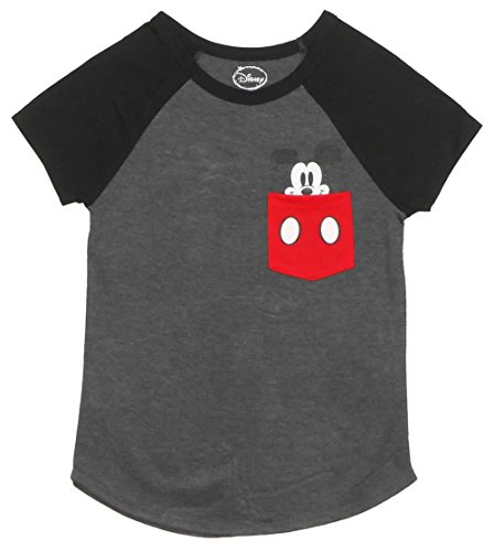 - Disney Ladies Pocket Size Mickey Mouse Tee Charcoal/Black X-Large