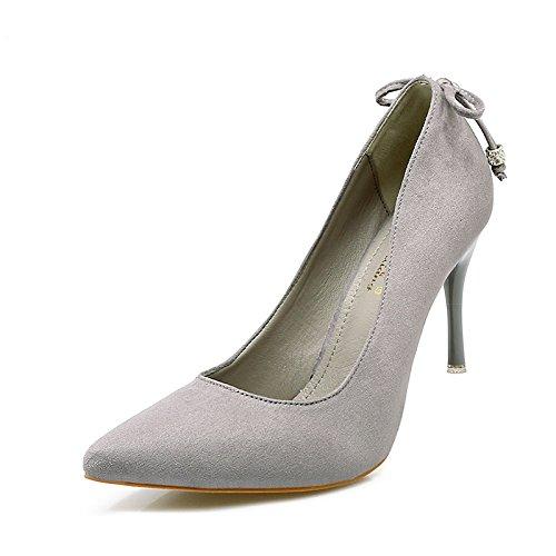 Xue Qiqi Tipp Ultra-dünne Ultra-dünne Ultra-dünne Frauen mit Schuhe mit satin Light von Nachtclubs und vielseitige Karriere mit einem einzigen Schuh 38 grau [7 cm] 91168d