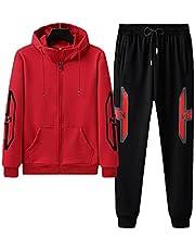 Men's sports suit full zipper sportswear jogging sportswear men's 2-piece suit, Mens Tracksuit Set Fleece Hoodie Top Bottoms Jogging Joggers (Color : Black and red, Size : L)