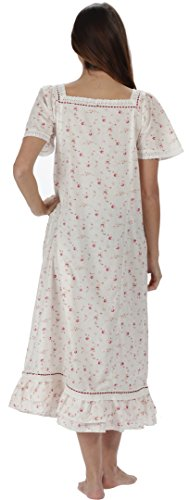 perThe 1 for U 100% cotone camicia da notte Maniche corte - Evelyn - Crema - Vintage Rosa, XX-Large