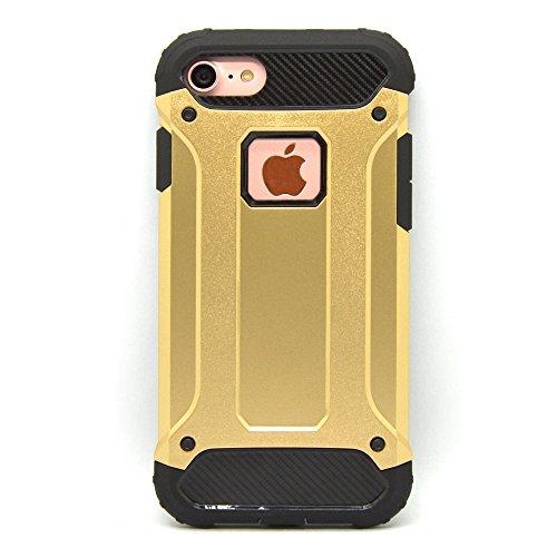 iProtect Apple iPhone 7, iPhone 8 Hülle Dual Layer Hard Case stoßfeste Schutzhülle in schwarz und gold
