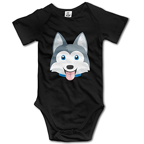 [Zhonggan Grey Husky Dog Baby's Boy's Girls Romper Jumpsuit Bodysuit Outfits Clothes 18 Months Black] (Childrens Dressing Up Knights Outfit)