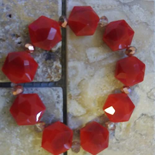- Hexagon Dark Red Stretch Beaded Bracelet or Anklet & Tear Drop, Custom Fit by BEADAISHAJEWELRY