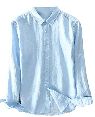 Emastor Mens Slim Fit Non-Iron Herringbone Point Collar Dress Shirt Sky blue XXL (Dress Shirt Collar Point Herringbone)