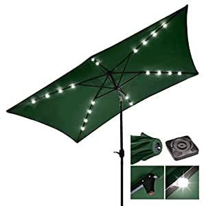 New 10ft UV Blocking Rectangle Umbrella Patio Outdoor Bistro Balcony Wall Window Sunshade W/ Solar LED Green #917G