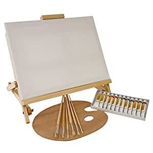 Us art supply 21 piece oil painting set with for Canvas painting supplies