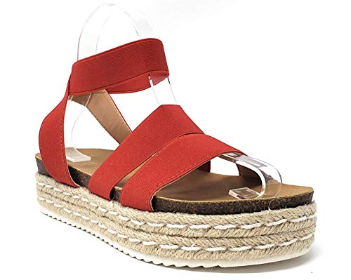 (Nature Breeze FQ83 Women's Elastic Strappy Lug Sole Platform Sandals (8.5, Red))