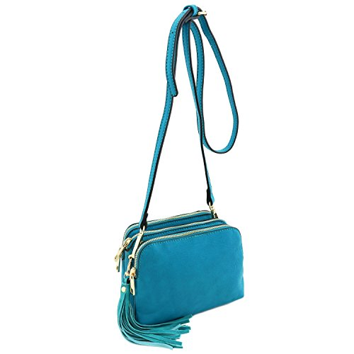 Crossbody Bag with Teal Mini Compartment Triple Tassel fwqB66