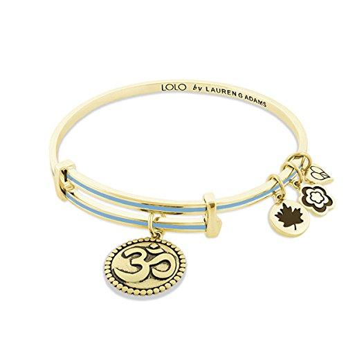 Lauren G Adams Expandable Lolo Bangle Bracelet OM Charm (Blue, gold-plated-brass)