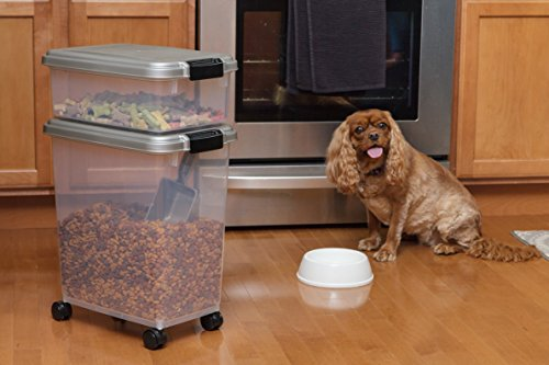 IRIS USA, MP-8/MP-1/SCP-2, 3- Piece Airtight Pet Food Storage Container Combo, Chrome, 1 Pack