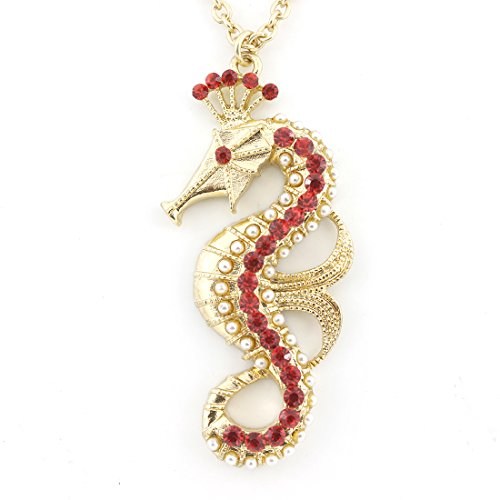 Bright Gold-tone Red Crystal Sea Horse Queen Pendant Necklace]()