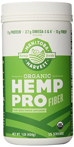 Manitoba Harvest Organic Hemp Pro Fiber Protein Supplement, 16 Ounce (Hemp Protein Plus Fiber)