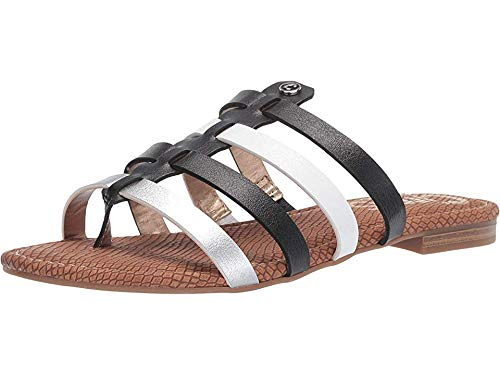 Circus by Sam Edelman Women's Colby Flat Sandal, Black/Bright White/Soft Siver New raw Edge, 6 M US